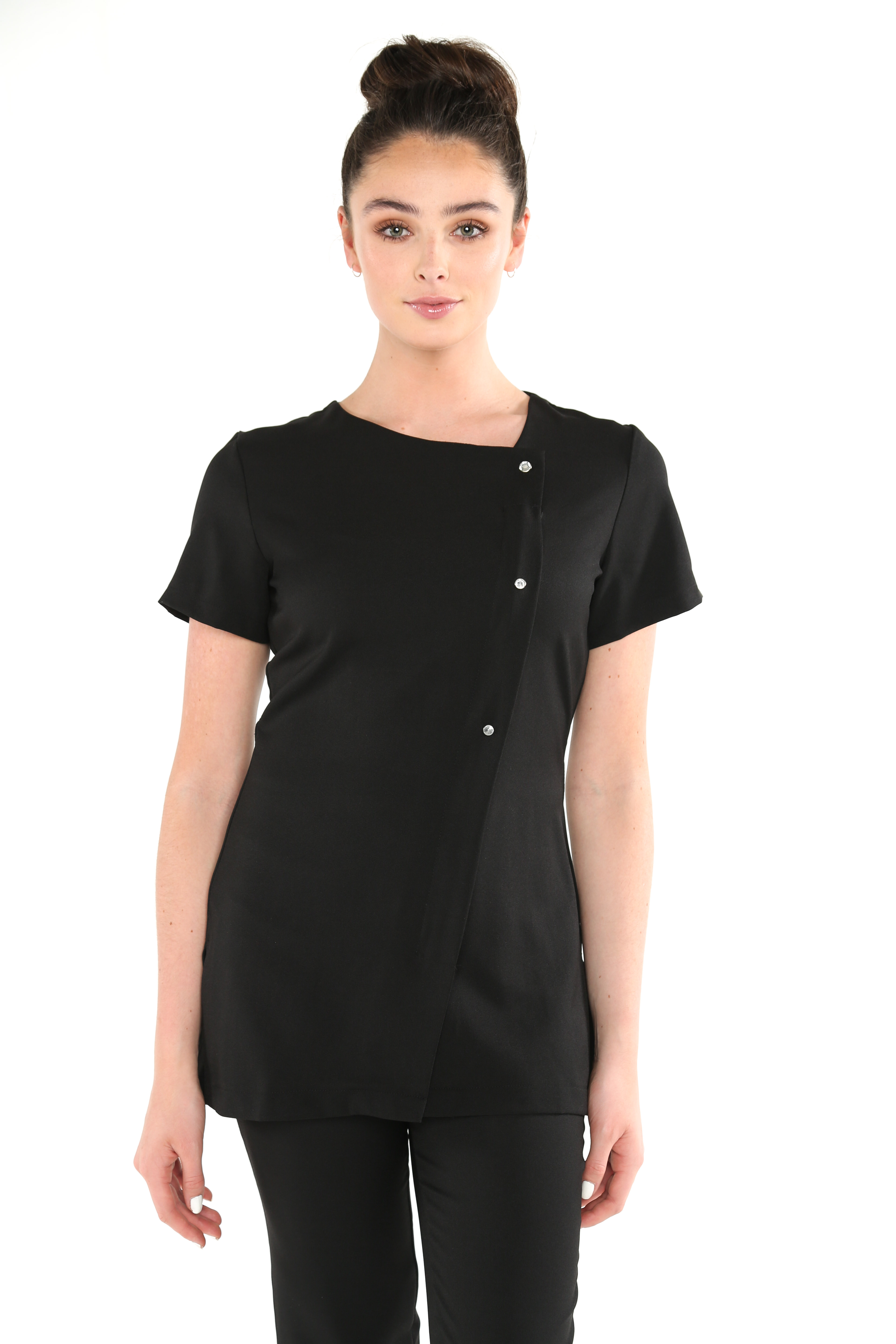 Beau crystal button salon spa fastening tunic for Uniform beauty spa