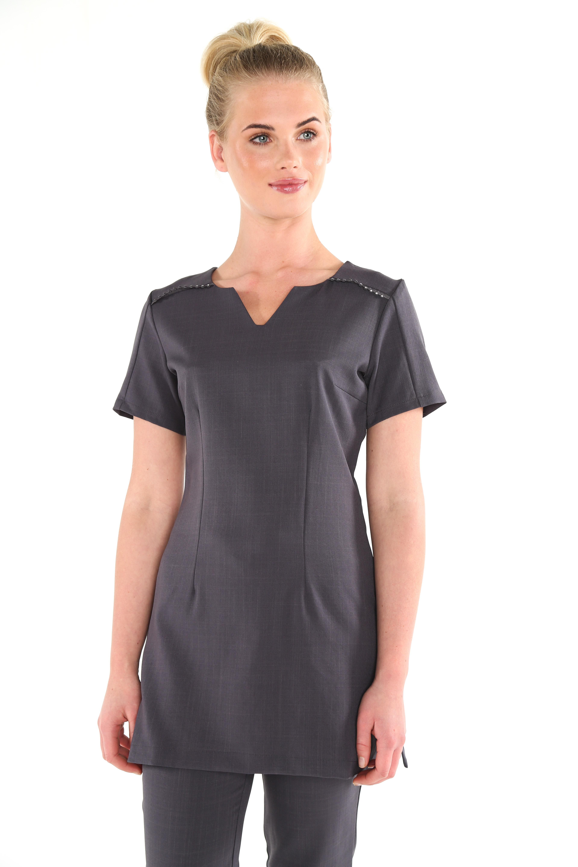 Karla diamante crystal gem beauty tunic workwear for White spa uniform uk