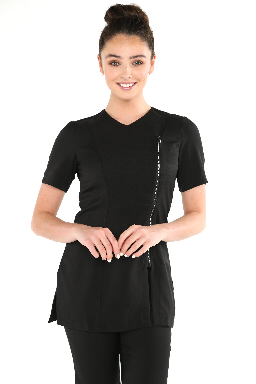 Diamante front zip beauty tunic uniform for White spa uniform uk